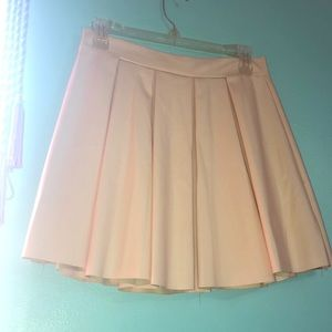 Pink Faux Leather Flare Skirt